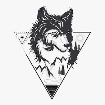Cabeza de lobo con la naturaleza