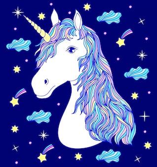 Cabeza de mano dibujada unicornio