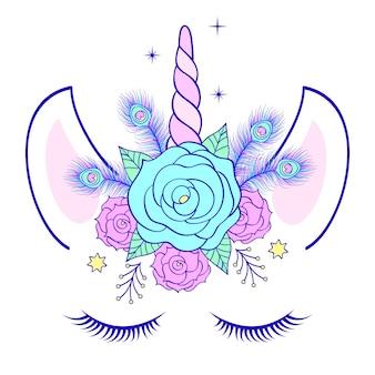 Cabeza de mano dibujado unicornio con corona floral.