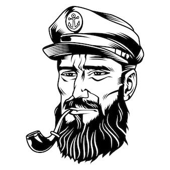 Cabeza de marinero blanco y negro