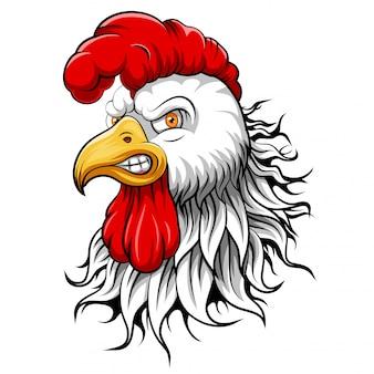 Cabeza de mascota de un gallo
