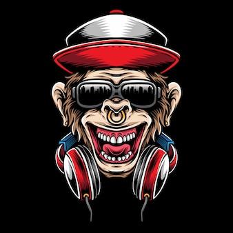 Cabeza de mono con auriculares