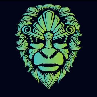 Cabeza de mono corona resplandor ilustración