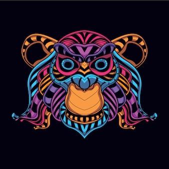 Cabeza de mono decorativa de color neón resplandor