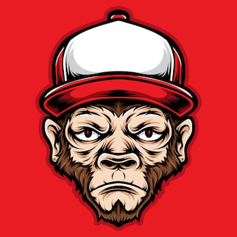 Cabeza de mono con gorros rojos