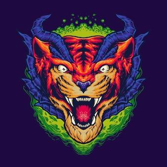 Cabeza de monstruo tigre