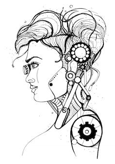 Cabeza mujer cyborg. silueta de concepto, cráneo, perfil ilustración de niña de hermoso personaje