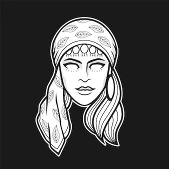 Cabeza de mujer gitana de ilustración en blanco y negro
