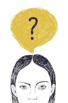 Cabeza de mujer joven y burbuja de pensamiento con punto de interrogación en el interior. retrato de niña pensativa pensando en resolver problemas y responder preguntas internas. ilustración de vector dibujado a mano.