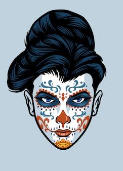 Cabeza de mujer con maquillaje de cara de calavera de azúcar