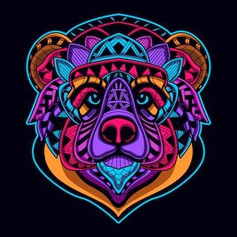 Cabeza de oso de color resplandor