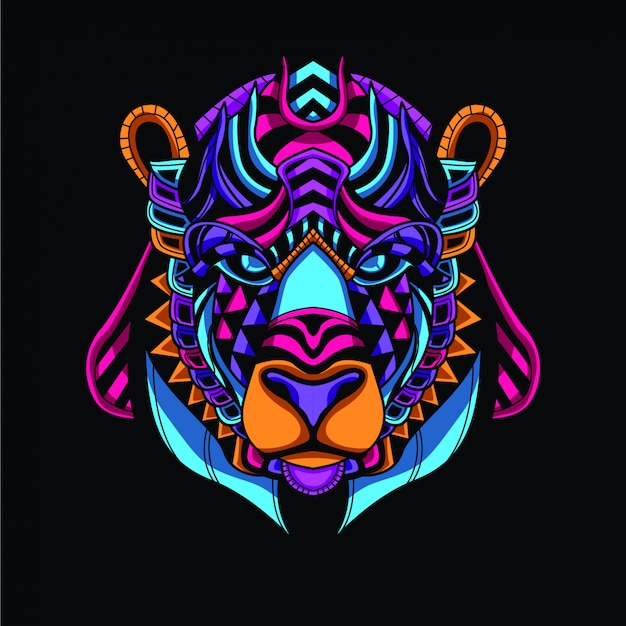 Cabeza de oso decorativa de color neón resplandor