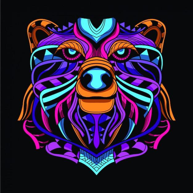 Cabeza de oso decorativa de color neón.