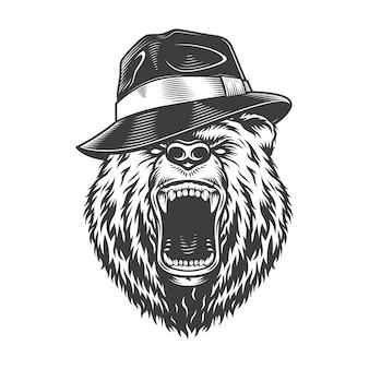 Cabeza de oso gángster monocromo en sombrero