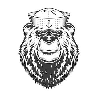 Cabeza de oso marino con sombrero de marinero