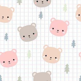 Cabeza de oso de peluche lindo con cuadrícula dibujos animados doodle de patrones sin fisuras