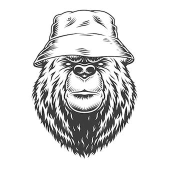Cabeza de oso vintage en sombrero de panamá