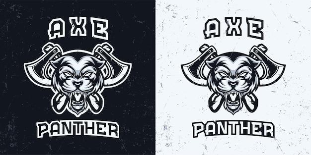 Cabeza de pantera monocromática en blanco y negro con ilustración de logotipo de mascota de hacha