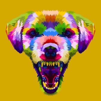 Cabeza de perro colorida enojado en estilo pop art