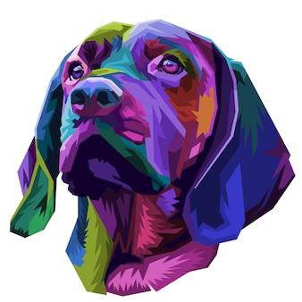 Cabeza de perro colorida en estilo pop art