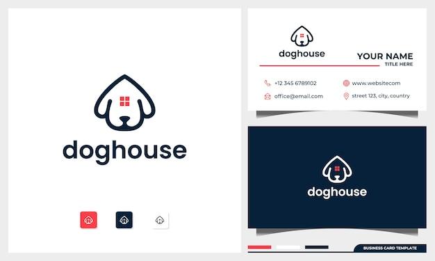 Cabeza de perro con concepto de diseño de logotipo de casa con plantilla de tarjeta de visita
