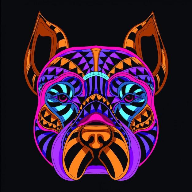 Cabeza de perro decorativa en color neón resplandor.