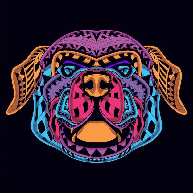 Cabeza de perro decorativa de color neón.