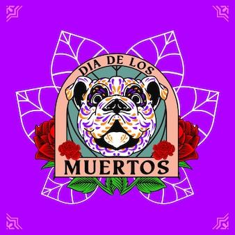 Cabeza de perro decorativa día de muertos ilustración de méxico