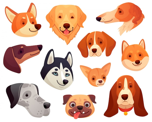 Cabeza de perro de dibujos animados bozal divertido del animal doméstico del perrito, cara sonriente del perro y colección aislada de la ilustración de los perros