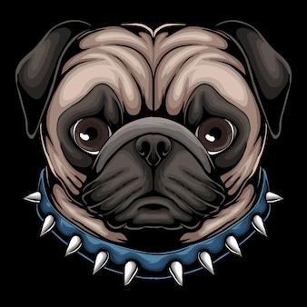 Cabeza de perro pug vistiendo un collar azul con picos ilustración de dibujos animados sobre fondo negro