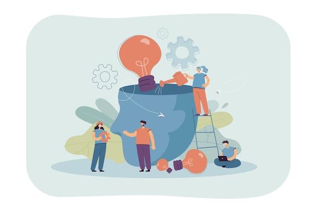 Cabeza de persona llena de ideas. pequeños personajes creativos que intercambian ideas juntos, ilustración plana de bombillas de riego