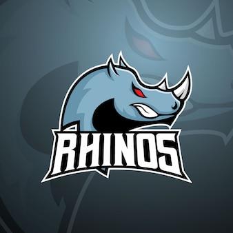 Cabeza de rinoceronte para el logotipo de la mascota e sports