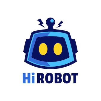 Cabeza de robot de dibujos animados con diseño de logotipo de antena