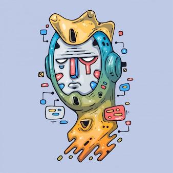 La cabeza del robot. ilustración creativa arte de dibujos animados para web e impresión.