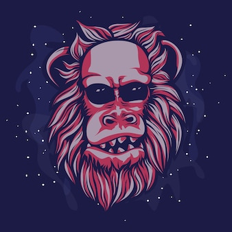 Cabeza roja del mono peludo y calvo