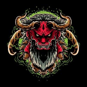 Cabeza satánica roja con fondo verde
