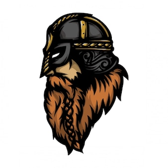 Cabeza de soldado vikingo mira de lado