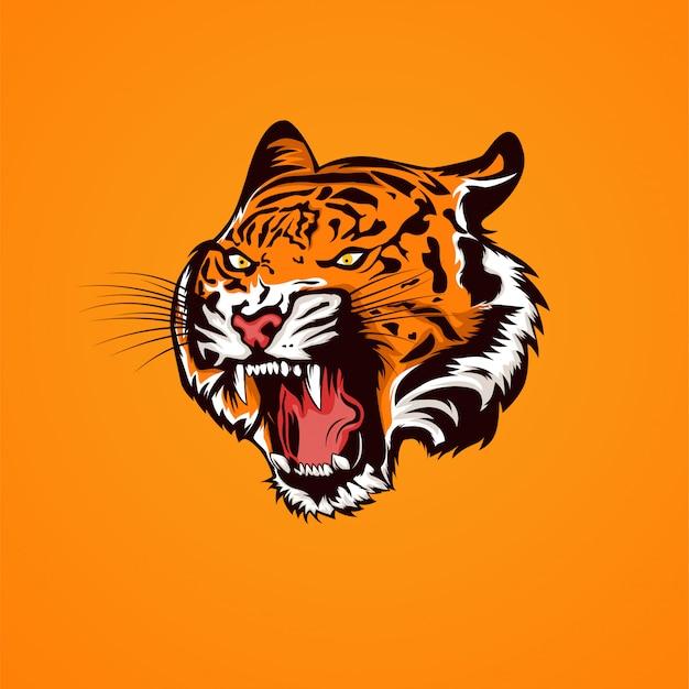 La cabeza del tigre abre la boca y muestra la ilustración de los colmillos