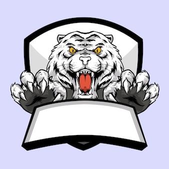 Cabeza de tigre blanco con diseño de mascota con logo de emblema de garra y banner