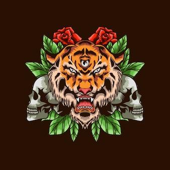 Cabeza de tigre con calavera y rosas ilustración