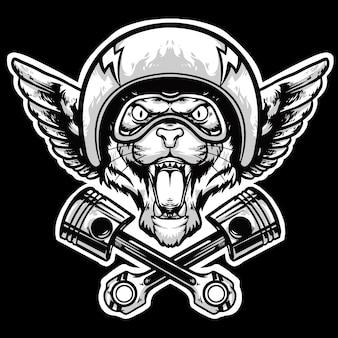 Cabeza de tigre con casco y logo de pistón mascota