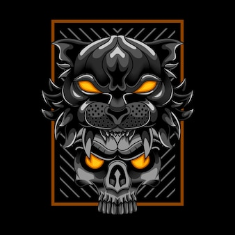 Cabeza de tigre con cráneo ilustración vectorial arte