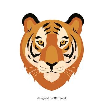 Cabeza de tigre en diseño plano