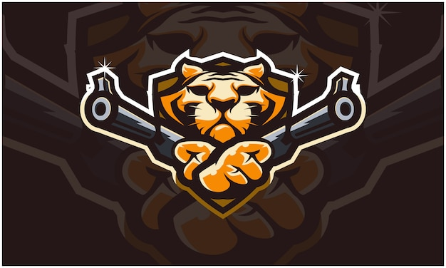 Cabeza de tigre con dos armas,