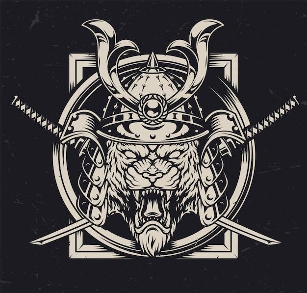 Cabeza de tigre enojado en casco de samurai