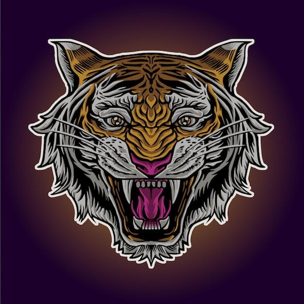Cabeza de tigre enojado