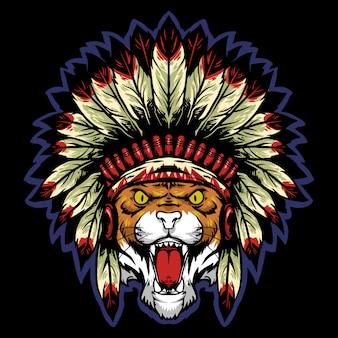 Cabeza de tigre con mascota de logo de sombrero tradicional apache