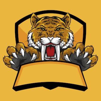 Cabeza de tigre sabertooth con diseño de mascota con logo de emblema de garra y bandera