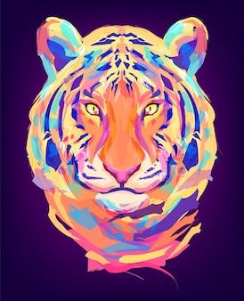 La cabeza de tigre sobre fondo negro ilustración retro ideal para una mascota y un tatuaje o una ilustración de camiseta