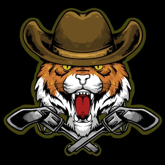 Cabeza de tigre con sombrero de vaquero y mascota con logo de pistola